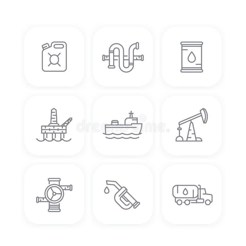 Mineralölindustrielinie Ikonen, Öl, Gasproduktion stock abbildung
