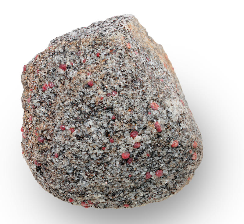 Mineral aggregate. Mineral specimen. Mineral aggregates composed of quartz and garnet. Sampling sites were noted in the file geotag royalty free stock images