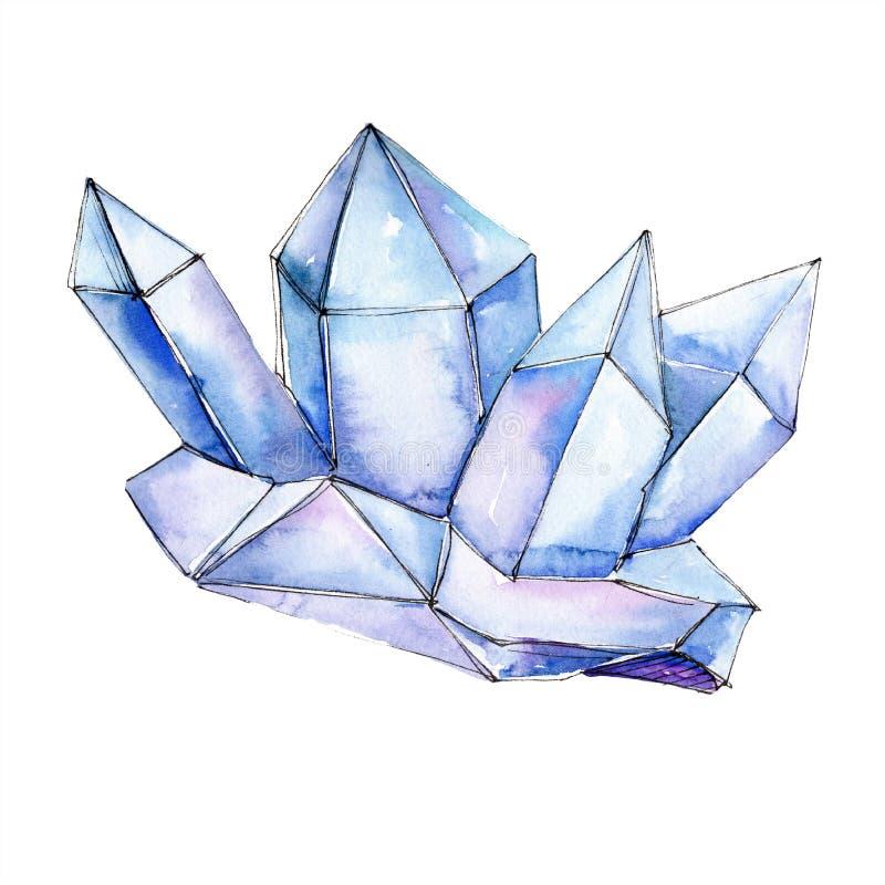 Mineral azul da joia da rocha do diamante Pedra de cristal isolada do polígono geométrico Grupo da ilustração do fundo da aquarel ilustração stock