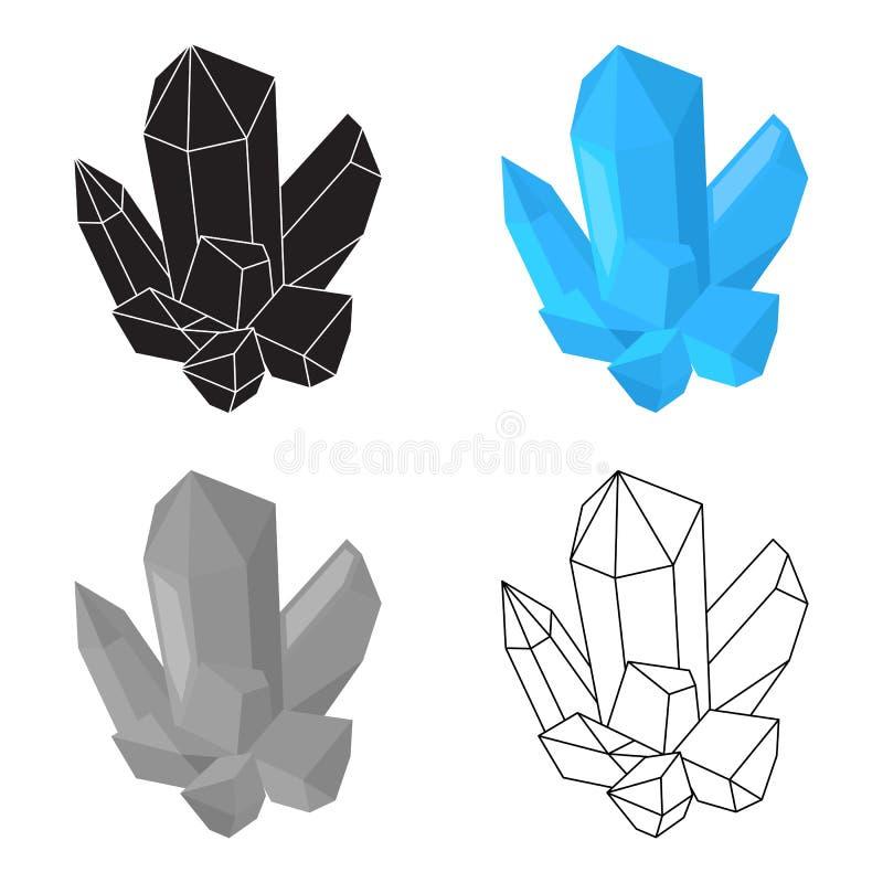 Mineral azul O cristal, que é cidades produziu na mina Mine o único ícone da indústria no símbolo do vetor do estilo dos desenhos ilustração royalty free