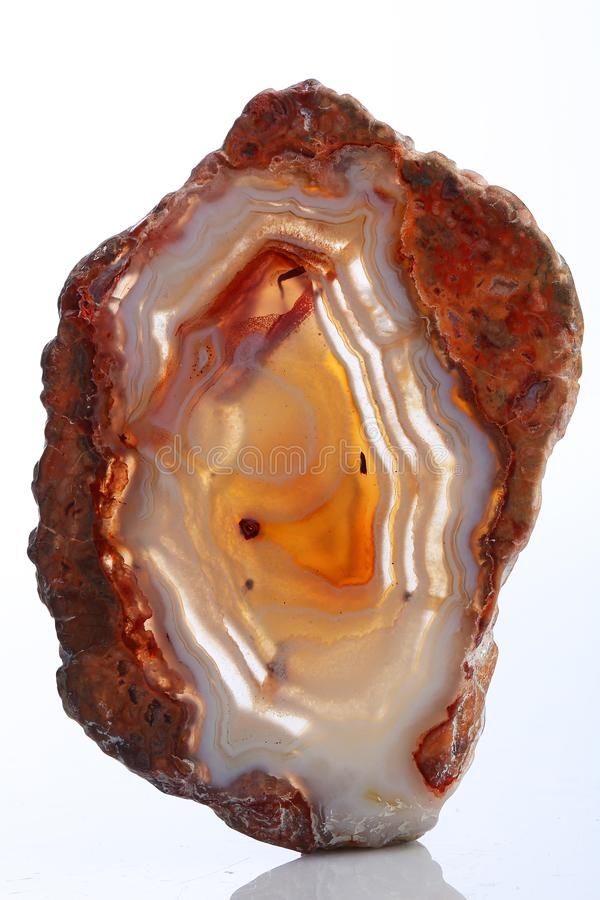 Mineral,colored agate with nacre rock geology.  royalty free stock photo
