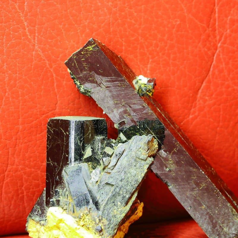 Mineral. Crystals of black tourmaline. Schorl stock photo