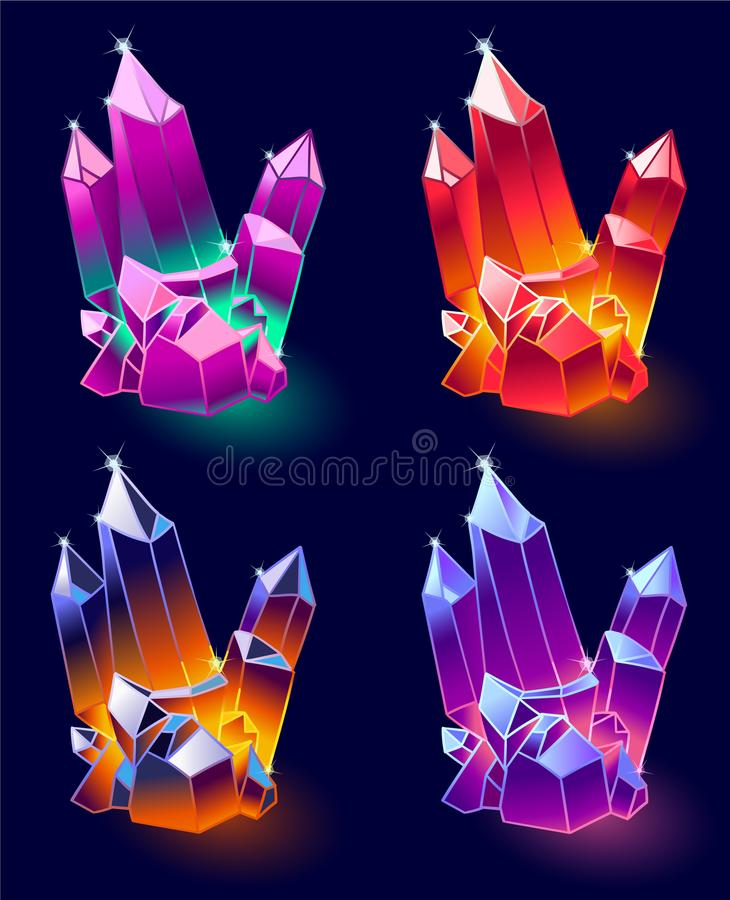Mineral Crystals Vector. Mineral Crystals, Gems and Diamonds Vector. Magic Set isolated on a dark background. Design for app user interface and score display vector illustration