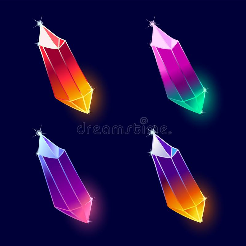 Mineral Crystals Vector. Mineral Crystals, Gems and Diamonds Vector. Magic Set isolated on a dark background. Design for app user interface and score display stock illustration