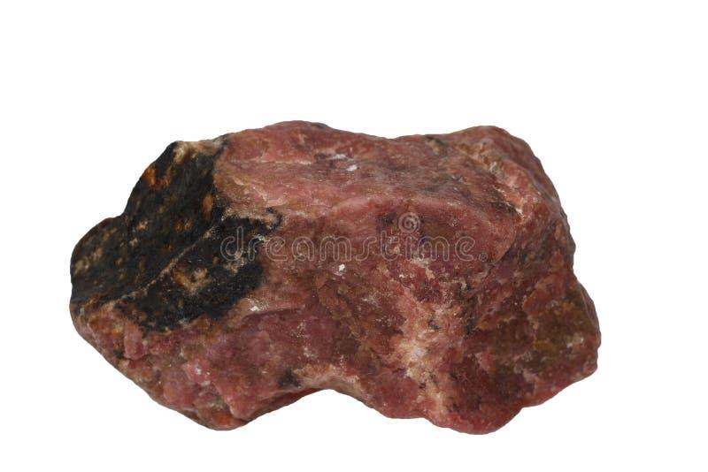 Mineral de Rhodonite isolado fotografia de stock