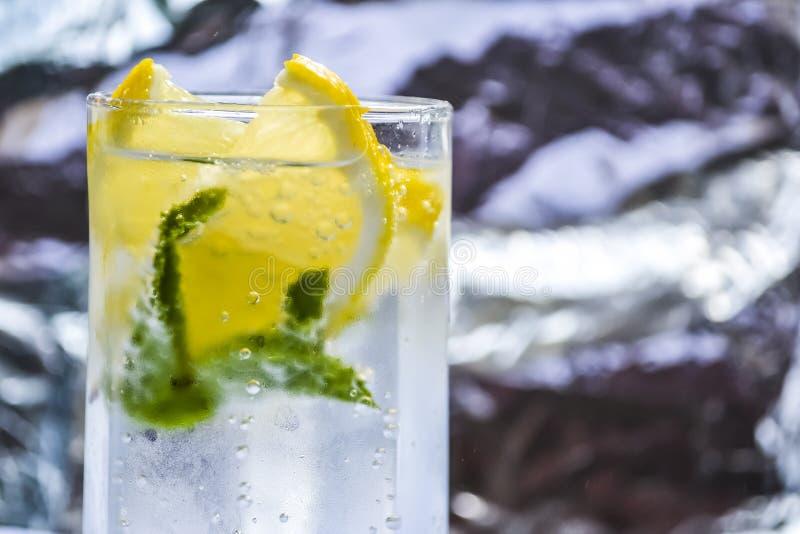 Mineral ingav vatten med citroner och mintkaramellsidor arkivfoton