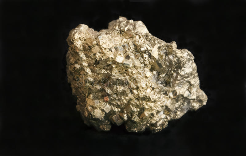 Mineral iron pyrite fool's gold nugget. royalty free stock images