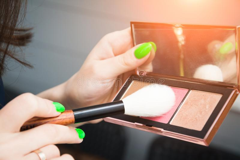 Mineral powder foundation with brush. Beuty and fashion concept royalty free stock photography