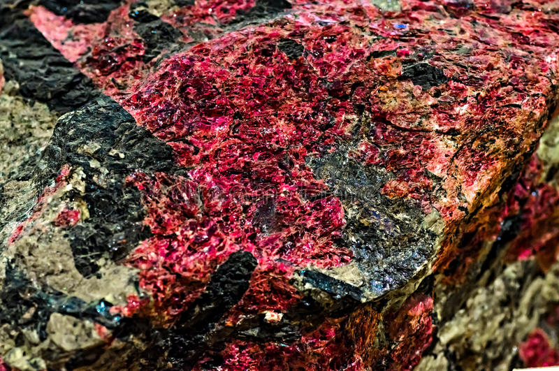 Mineral. Red eudialyte in the Vernadsky Sate Geological Museum in Moscow stock photos