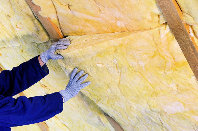 Mineral rock wool. For heat insulation stock images