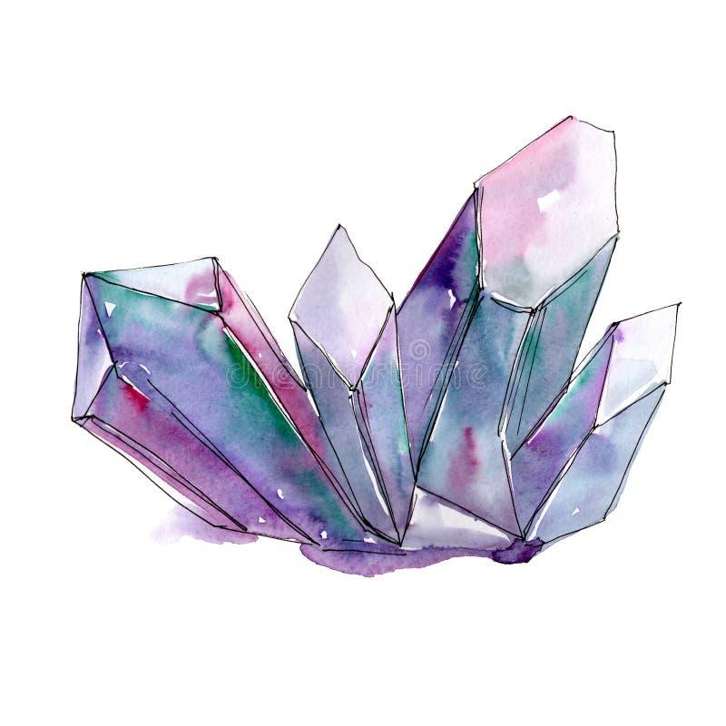 Mineral violeta de la joyería de la roca del diamante ilustración del vector