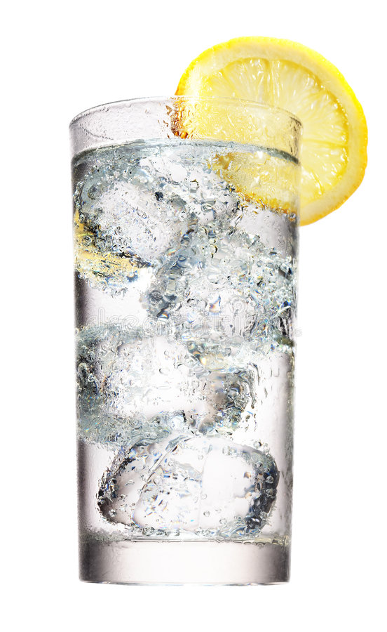Mineral water with ice and lemon stock images