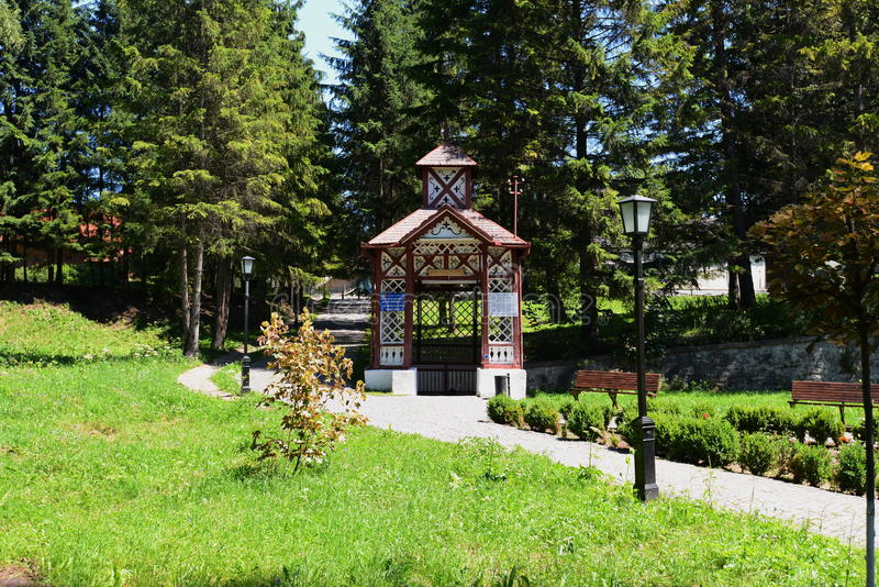 Mineral water spring number 3 Boldizsar from Borsec. Borsec resort is a located in Harghita County, Romania. The place and the surrounding areas are well known stock image