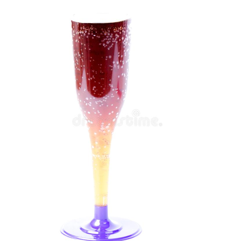 Mineral water in transparent glass with bubbles isolated over white background stock photo