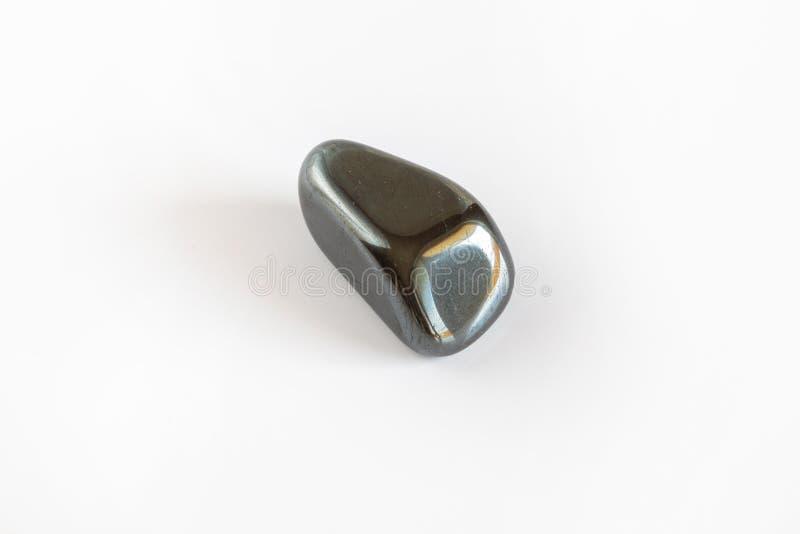Minerale dell'ematite, macro dell'ossido di ferro isolato su bianco immagine stock libera da diritti