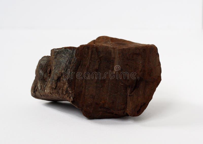 Minerale della lignite o della lignite su fondo bianco immagini stock libere da diritti
