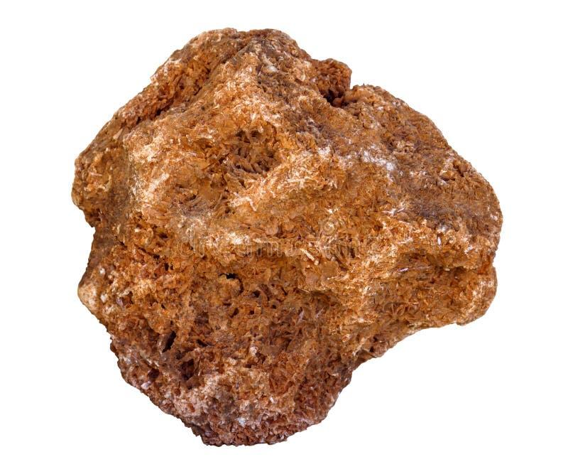 Minerale die steekproef - samengroeiing van ijzeroxide en hydroxydekristallen, op witte achtergrond wordt ge?soleerd stock foto