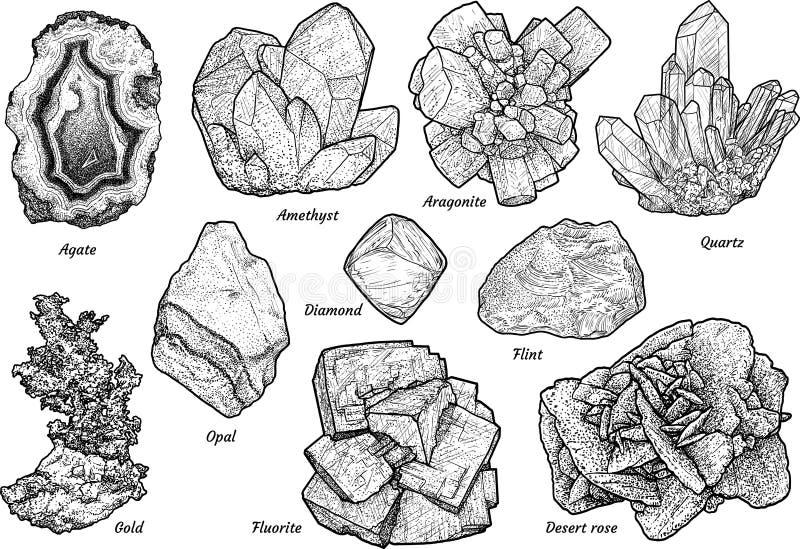 Minerale inzamelingsillustratie, tekening, gravure, inkt, lijnkunst, vector vector illustratie