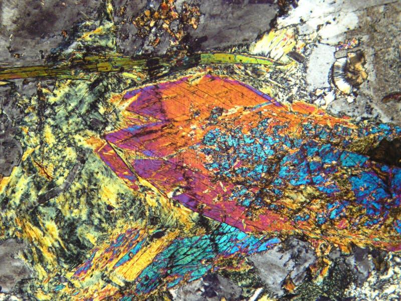 Mineralen onder microscoop stock afbeelding