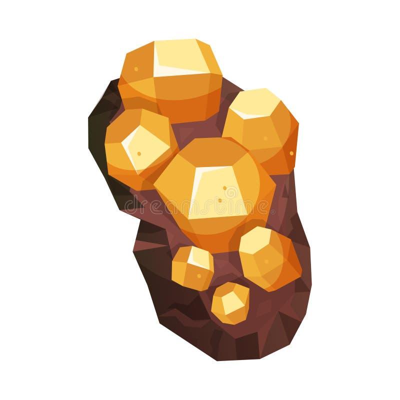 Mineralen van heldere natuurlijke structuur, geologisch pictogram royalty-vrije illustratie