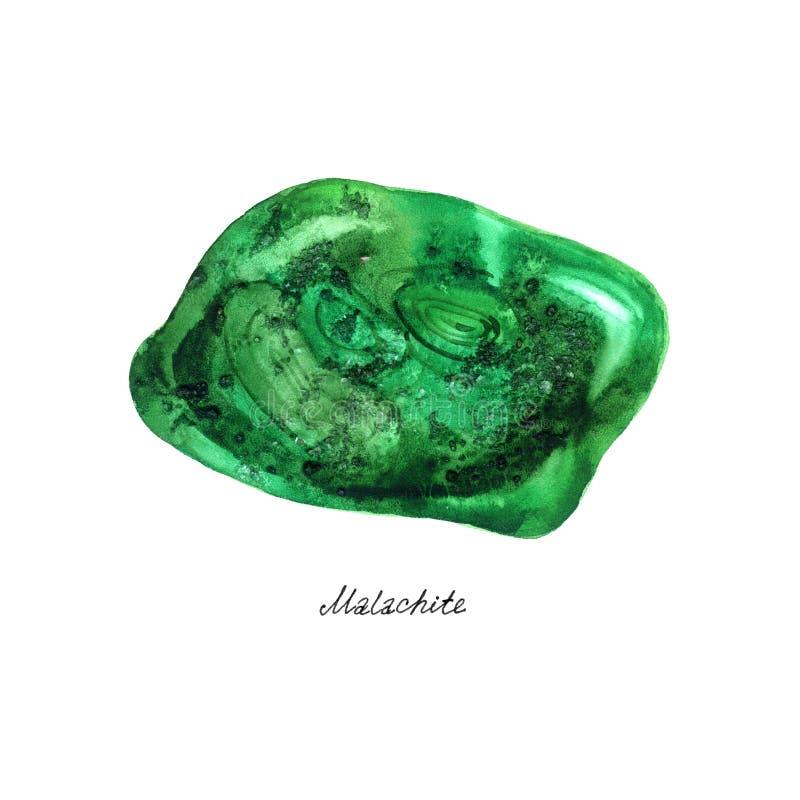 Minerales de la acuarela: Malaquita aislada en el fondo blanco imagenes de archivo