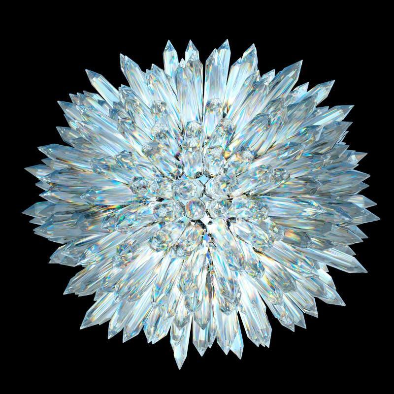 Minerales: Esfera cristalina con las columnas agudas stock de ilustración