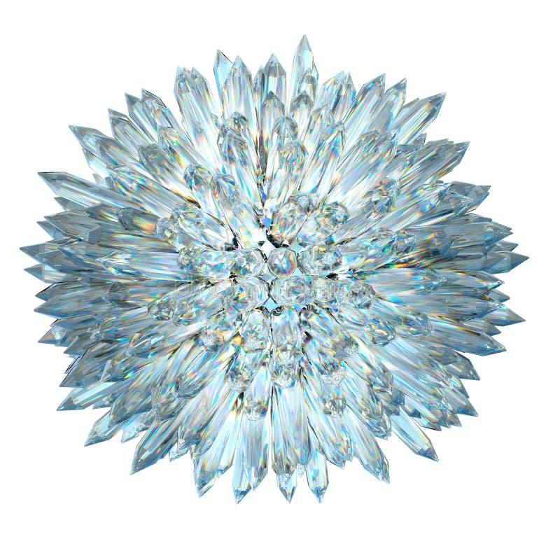 Minerales: Esfera cristalina con las columnas agudas aisladas ilustración del vector