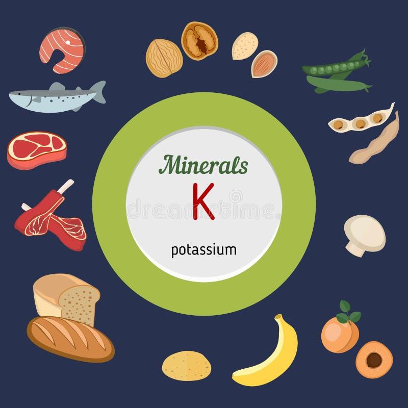 Minerales K infographic ilustración del vector