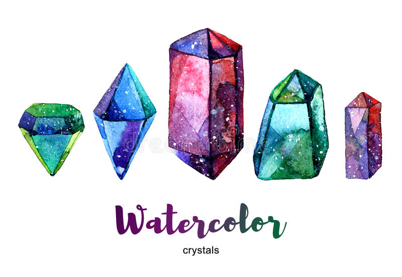 Minerales multicolores Ejemplo de la acuarela del cristal ilustración del vector