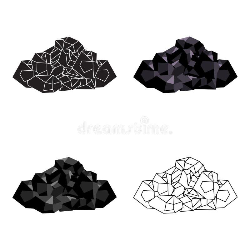 Minerales negros de la mina Carbón, que se mina en la mina Mine el solo icono de la industria en símbolo del vector del estilo de stock de ilustración