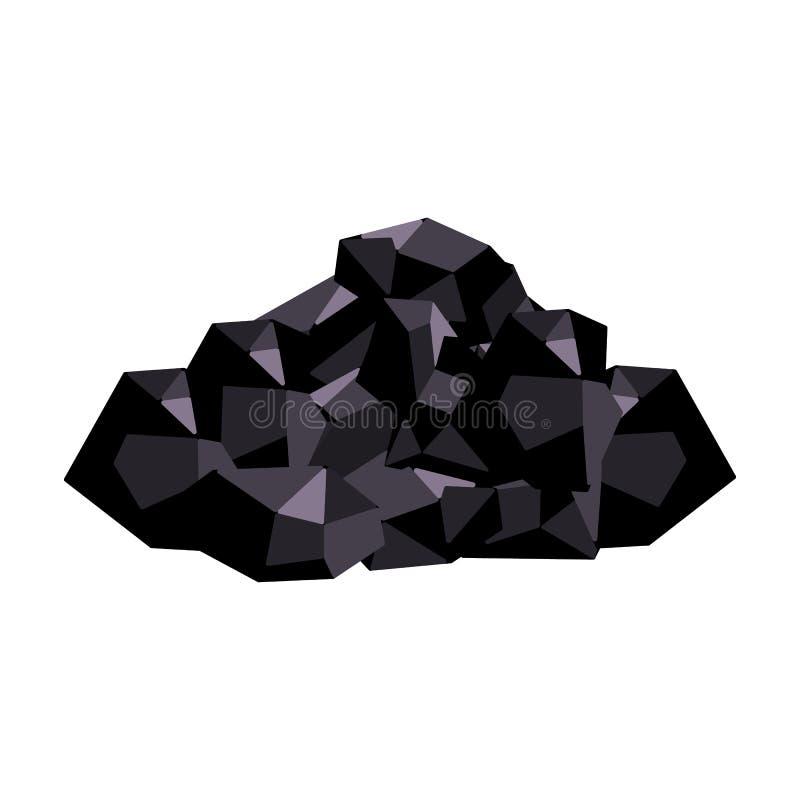 Minerales negros de la mina Carbón, que se mina en la mina Mine el solo icono de la industria en símbolo del vector del estilo de libre illustration