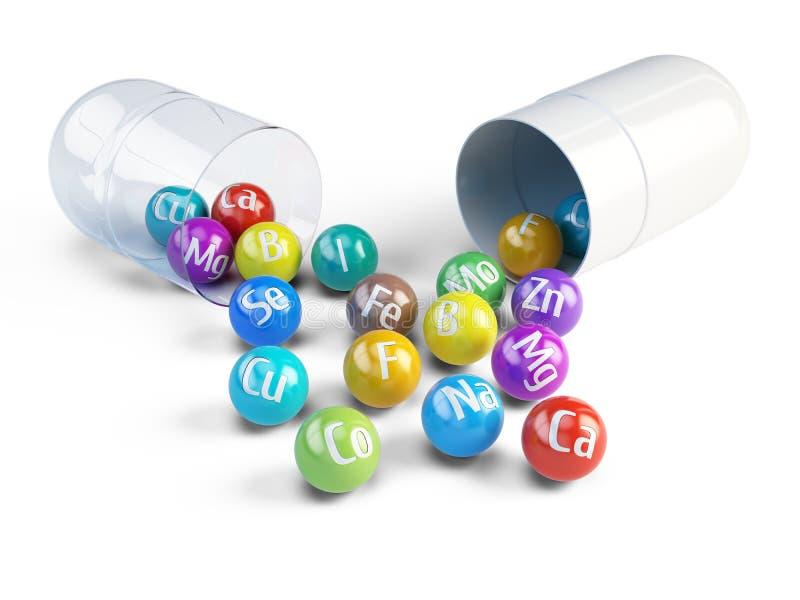 Minerales y microelementos químicos esenciales - concepto de la dieta sana libre illustration