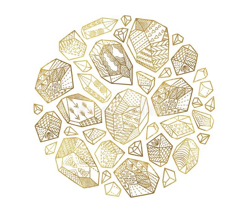 Minerali, cristalli e gemme decorativi dorati nel telaio del cerchio illustrazione di stock