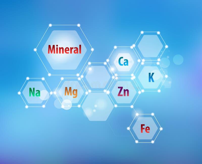 Minerali essenziali per le sanità Schema astratto royalty illustrazione gratis