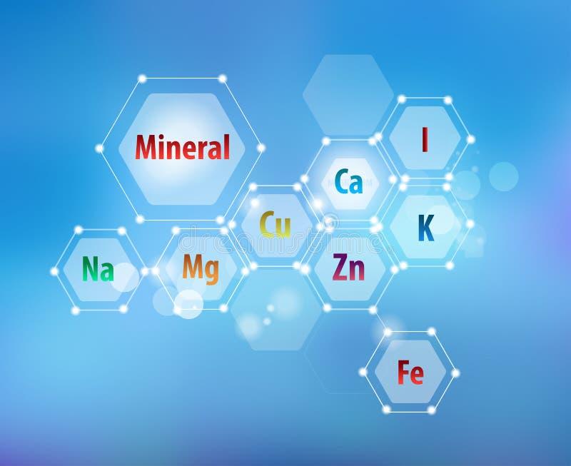 Minerali essenziali per le sanità Schema astratto illustrazione di stock