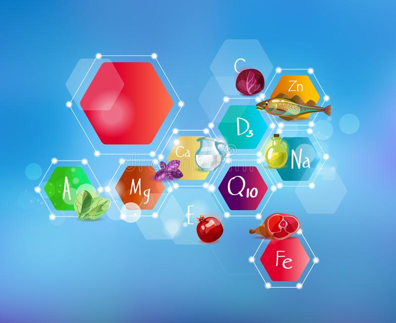 Minerali per le sanità e l'alimento Schema astratto royalty illustrazione gratis
