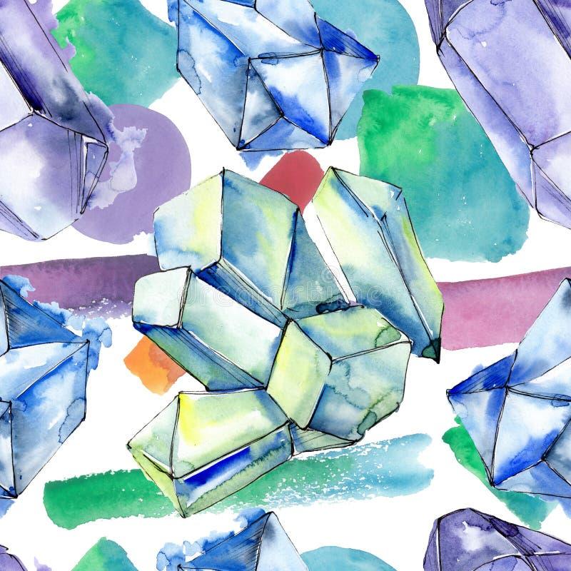Minerali variopinti dei gioielli della roccia del diamante Insieme dell'illustrazione del fondo dell'acquerello Modello senza cuc royalty illustrazione gratis
