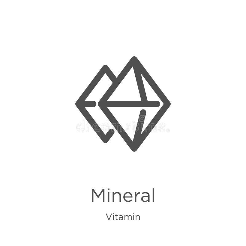 mineralisk symbolsvektor från vitaminsamling Tunn linje mineralisk illustration för översiktssymbolsvektor Översikt tunn linje mi stock illustrationer