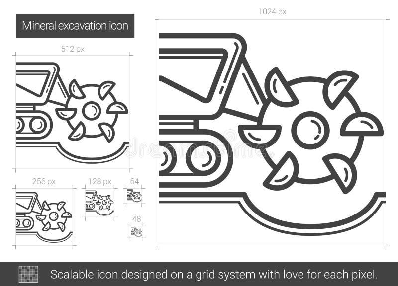 Mineralisk utgrävninglinje symbol royaltyfri illustrationer