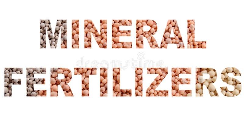 MINERALISKA GÖDNINGSMEDEL för ord som 'göras av mineralisk gödningsmedelbakgrund arkivbild