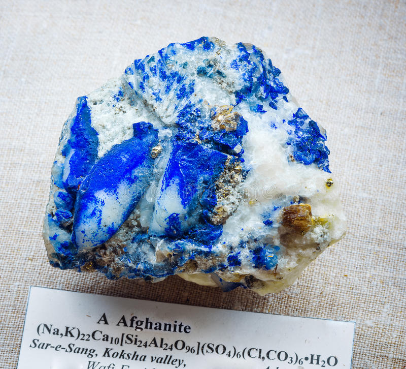 Mineralogy. Afghanite with pyrite piece in museum royalty free stock photos