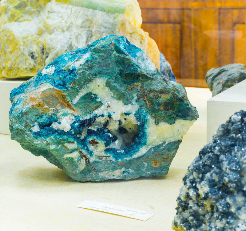 Mineralogy. The collection Dioptase in museum royalty free stock photo