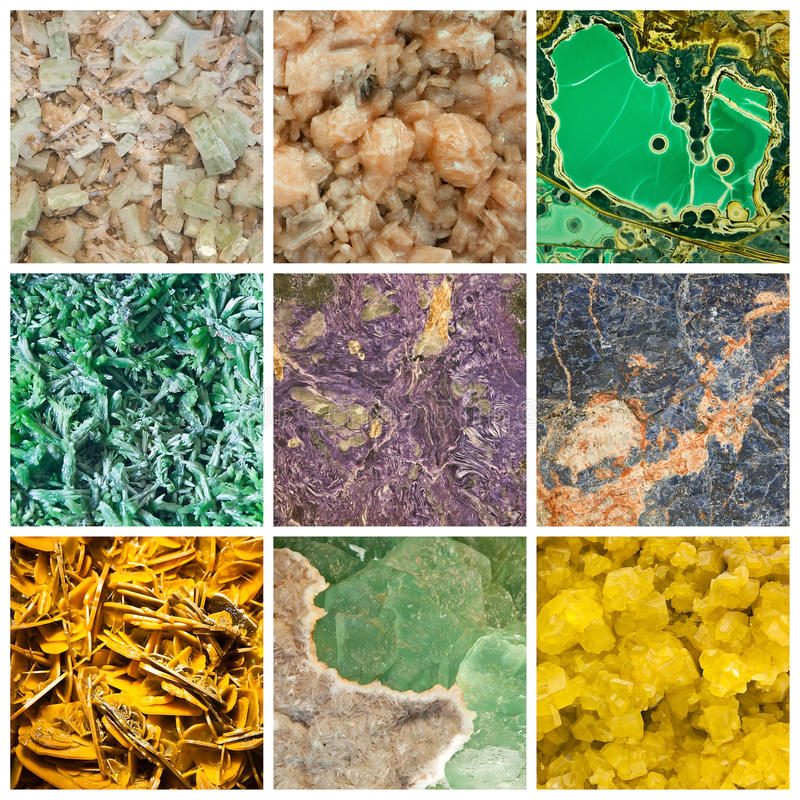 Minerals. Collage of different minerals. First row contains an apophyllite, a stilbite and a wardite, second row contains a limonite, a charoite and a sodalite royalty free stock photo