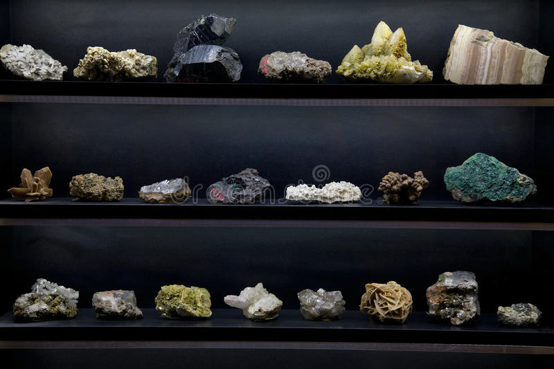 Minerals. Collection of minerals being displayed royalty free stock photography