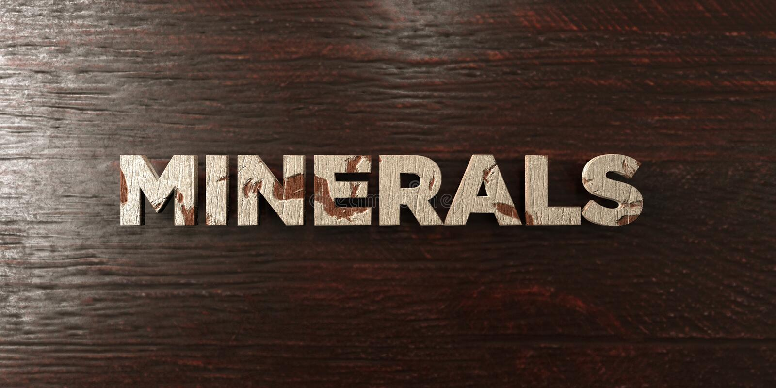 Minerals - grungy wooden headline on Maple - 3D rendered royalty free stock image. This image can be used for an online website banner ad or a print postcard stock illustration