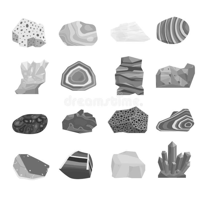 Mineralsteinvektorsatz stock abbildung
