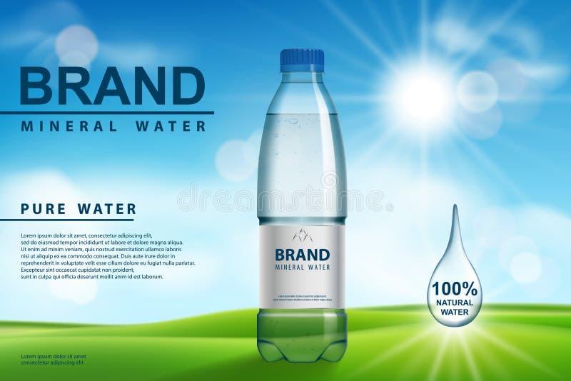 Mineralvattenannons, plast- flaska med ren mineralisk flytande på solig bakgrund Genomskinlig design för dricksvattenflaska stock illustrationer