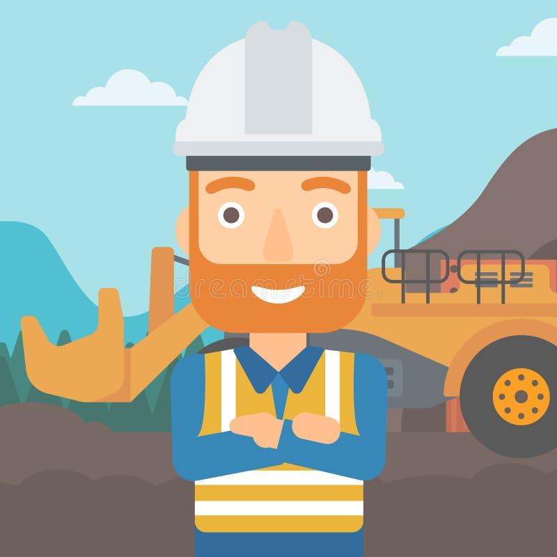 Minero con el equipo minero en fondo ilustración del vector