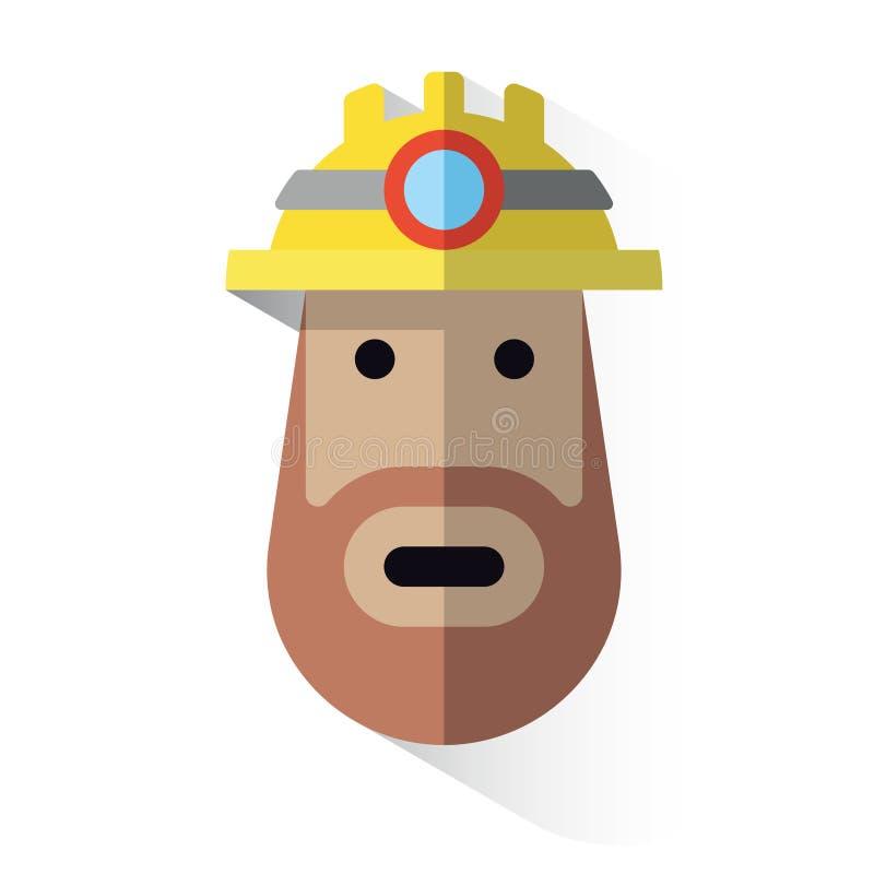 Minero de la cara del icono con el casco libre illustration