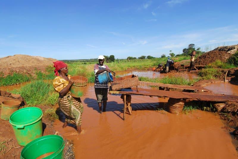 Minero en África imagen de archivo